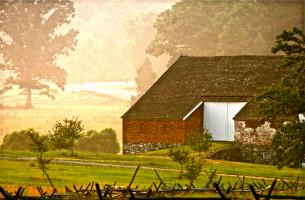 First Light, Abraham Trostle Barn. Photograph by Dan Mangan