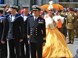 In Her Majesty's Service: Pride Parade, Piccadilly.  Photograph by Dan Mangan