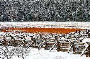 A Stillness in January: Henry Spangler Farm, Gettysburg – Right Flank of Pickett's Charge. Photograph by Dan Mangan