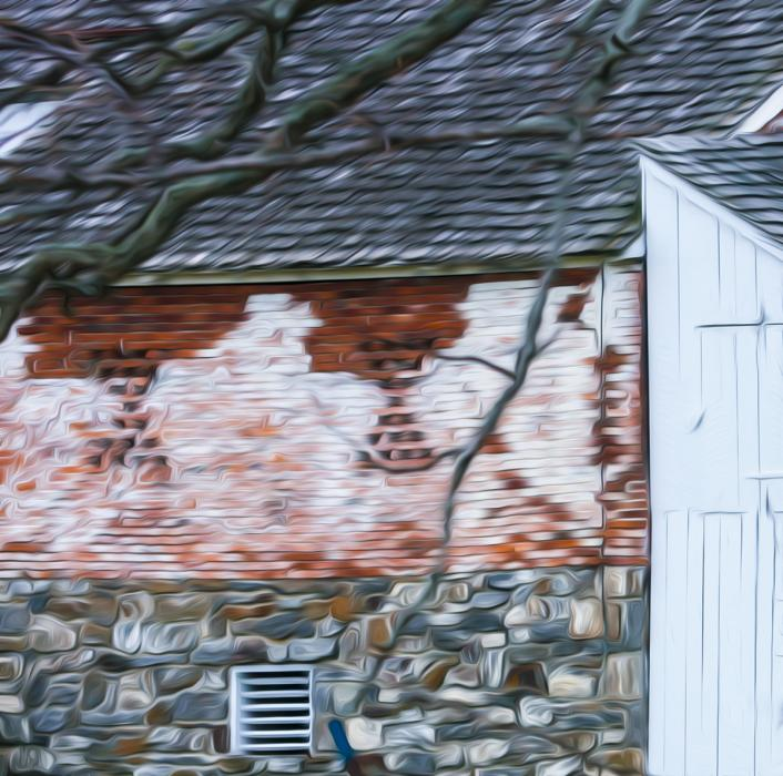 Whitewashed Brick, Abraham Trostle Barn. Photograph by Dan Mangan